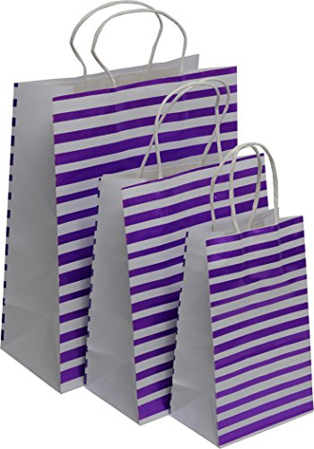 Kraft King White Gift Bags with glossy finish - blue, black, pink and purple accents, bulk set of 24 in small, medium and large sizes, polka dots stripes and other shapes