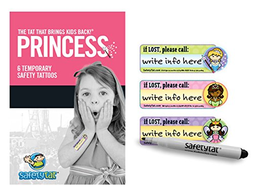 SafetyTat Child ID Safety Tattoo - Princess 6 Pack