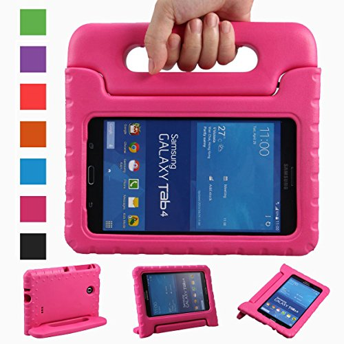eTopxizu Samsung Galaxy Tab 4 7.0 Kiddie Case - Light Weight Shock Proof Convertible Handle Stand Kids Children Friendly for Samsung Tab 4 7-Inch SM-T230 SM-T231 SM-T235 Tablet, Rose Color