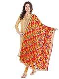 Dupatta Bazaar Women's Red & Multicoloured Chiffon Dupatta with Phulkari Embroidery