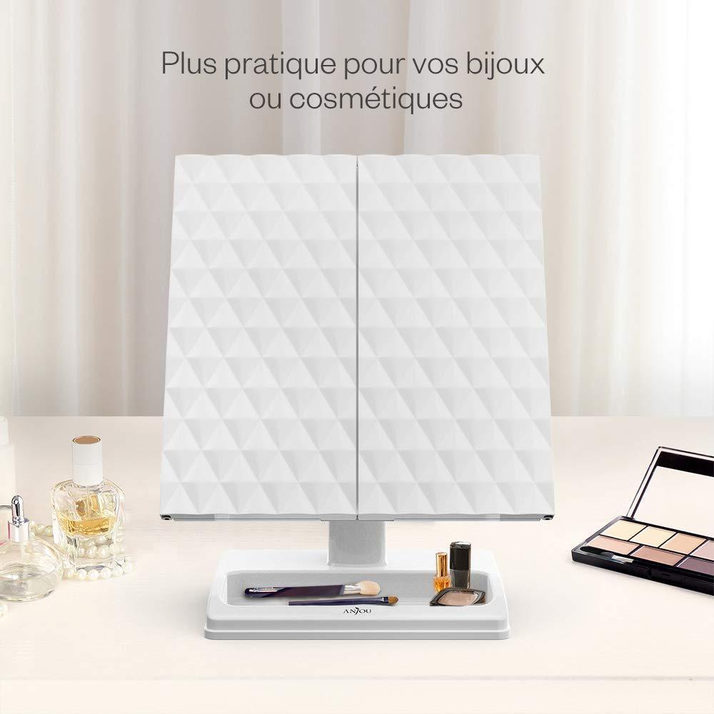 2X Pliable Miroir de Maquillage Triple avec Bouton Tactile /& Stand Cosm/étique Anjou Miroir Maquillage 24 LED Lumineux 360/° Ajustable Miroir Grossissant 1X Batterie et Charge USB 3X //10X