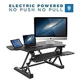 """Mount-It! Electric Standing Desk Converter, 48"""" Wide Motorized Sit Stand Workstation, Ergonomic Height Adjustable Tabletop Desk, Black"""