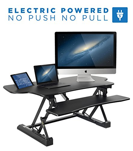 "Mount-It! Electric Height Adjustable Standing Desk Converter | 48"" Wide Desktop 