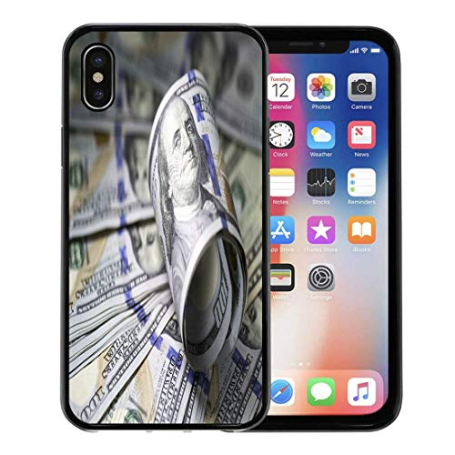 Semtomn Phone Case for Apple iPhone Xs case,Money Roll of Hundred Dollar Bill on Reserve Banknote Benjamin Closeup for iPhone X Case,Rubber Border Protective Case,Black