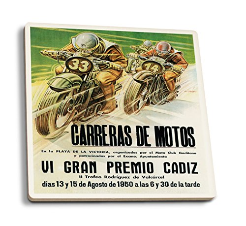 Lantern Press Motorcycle Racing - Vintage Advertisement (Set of 4 Ceramic Coasters - Cork-Backed, Absorbent)