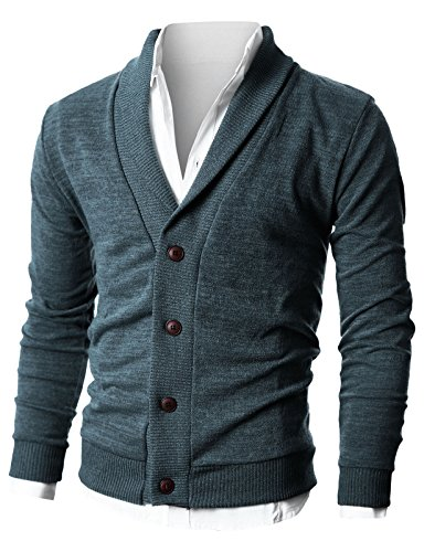 Ohoo Mens Slim Fit Shawl Collar Lightweight Knit Cardigan with Elbow Patch/DCC025-CHARCOAL-M