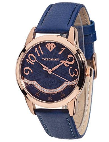 Yves Camani Champaubert Women's Wrist Watch Quartz Analog Blue Dial Rosegold Stainless Steel Casing Blue Leather Strap
