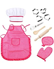 TraderPlus Chef Set for Kids, 11pcs Kitchen Costume Role Play Kits Gift with Hat, Apron, Cooking Mitt for Girls - Pink