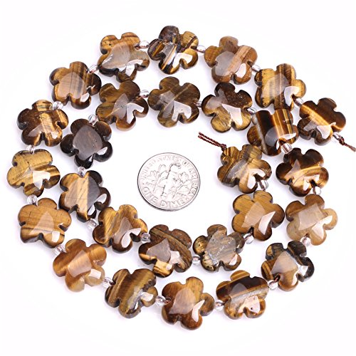 Tiger Eye Beads for Jewelry Making Natural Gemstone Semi Precious 15mm Flower 15