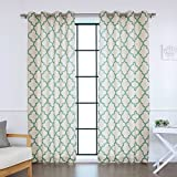 Best Home Fashion Flax Linen Blend Textured Reverse Moroccan Print Curtains – Stainless Steel Nickel Grommet Top – Blue – 52″W x 96″L – (Set of 2 Panels)