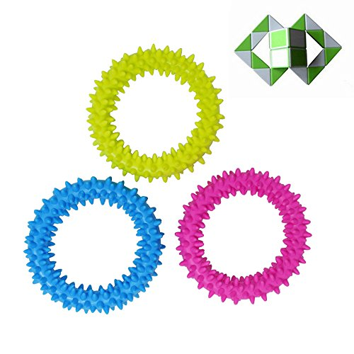 Veliis Spiky Sensory Ring Fidget Toy for Children Relaxing Therapy Stress Relieve Increasing Focus Help with ADHD ADD OCD Autism and Anxiety + 1.3'' Mini Magic Snake Ruler 4 Pieces Set - Snake Pencil