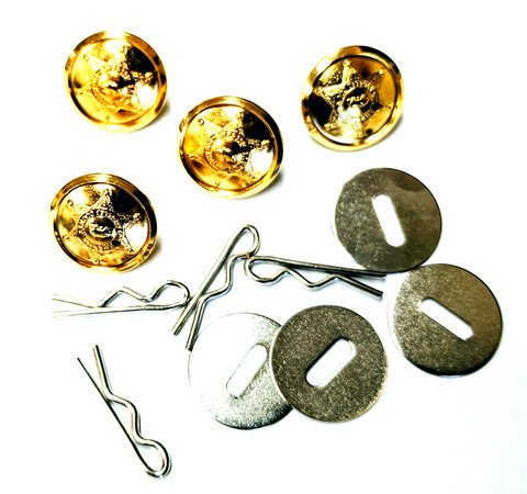 Uniform Shirt Buttons - Los Angeles County Sheriff Dept - Set of 4 - Bright Gold