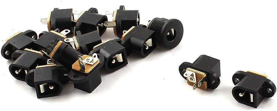10 Stücke 2,1mm x 5,5mm Stecker DC Netzstecker Buchse Jack Stecker Schwarz  ^