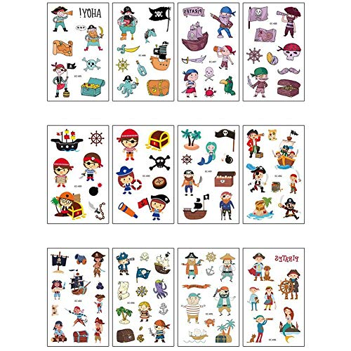 12 sheets Pirate Temporary Tattoo for Kids, Fake Pirate Tattoo Face Body Stickers, Great for Pirate Birthday Party Favors Supplies for Children Boys and Girls