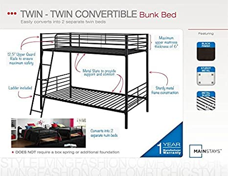 Amazon Com Mainstays Twin Over Twin Convertible Bunk Bed Silver