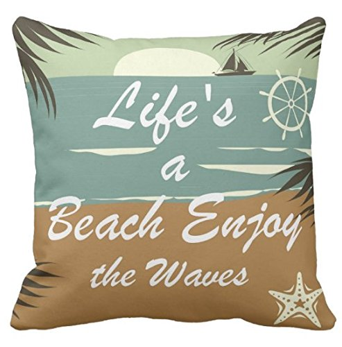 Palm Bolster Pillow - Kissenday 18X18 Inch Life's a Beach Enjoy the Waves Inspirational Quote Fun Saying Cotton Polyester Decorative Home Decor Sofa Couch Desk Chair Bedroom Car Birthday Gift Square Throw Pillow Case