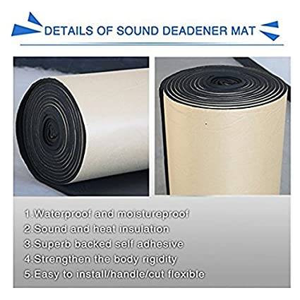 40 inches) DishyKooker 8mm Car Noise Sound Deadener Deadening Insulation Mat Waterproof and Moistureproof (24