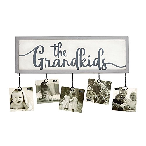 White Photo Plaque - Mud Pie Grandkids Photo Holder Plaque Picture Frame, White/Gray