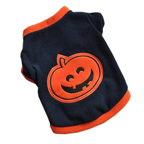 Pet Apparel, ღ Ninasill ღ Dog Puppy T-Shirts Fleece Warm Clothes Cute Halloween Pumpkin (L, Navy)]()