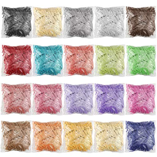 Anliswalker 20Pack 400g Multiple Colors Raffia Paper Grass Shredded Crinkle Paper Tissue Basket Confetti Dry Straw Gift Box Hamper Packaging Wrapping Filling Easter Decoration Material