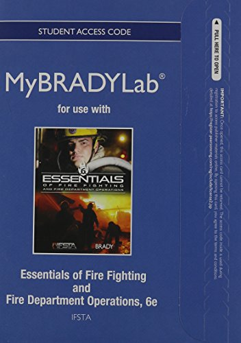 NEW MyBradyLab without Pearson eText -- Access Card -- for Essentials of Fire Fighting and Fire Department Operations