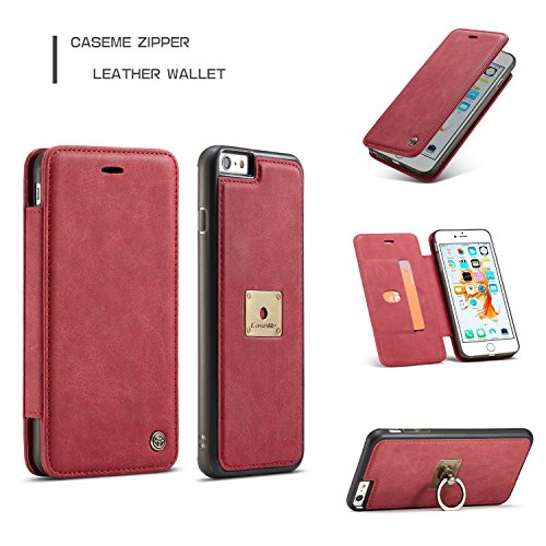 JIALUN-Caja del teléfono o cubierta Para la caja de la cartera del iPhone 6s / 6, caja de la cartera del tirón del cuero de la PU de CaseMe Premium con la ranura para tarjeta, anillo de dedo magnético Red