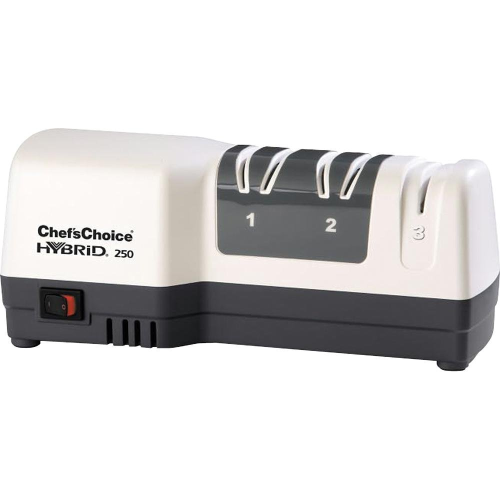 Chef'sChoice 250 Diamond Hone Hybrid Sharpener Combines Electric and Manual Sharpening for Straight and Serrated 20-degree Knives Uses Diamond Abrasives for Sharp Durable Edges, 3-Stage, White
