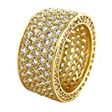 Niv's Bling – Men's 18K Gold Plated Cubic Zirconia Eternity Ring – Iced Out CZ Micropave Wedding Band Men, 11mm, Size 7