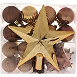 WeRChristmas Shatterproof Baubles with Tree Topper and Garland, 42-Piece - Brown/Chocolate/Champagne by WeRChristmas