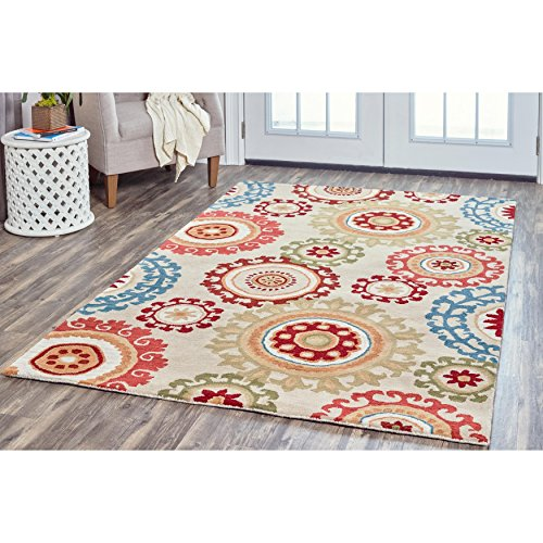 Rizzy Home Arden Loft-Crown Way Collection Wool Natural /Beige Medalien  Area Rug 8' x 10'