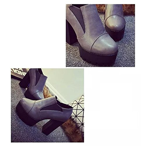 Gaorui Winter Women Chunky High Heel Ankle Boots Platform Cleated Stretchy Chelsea Shoe Gray PSkDxN0