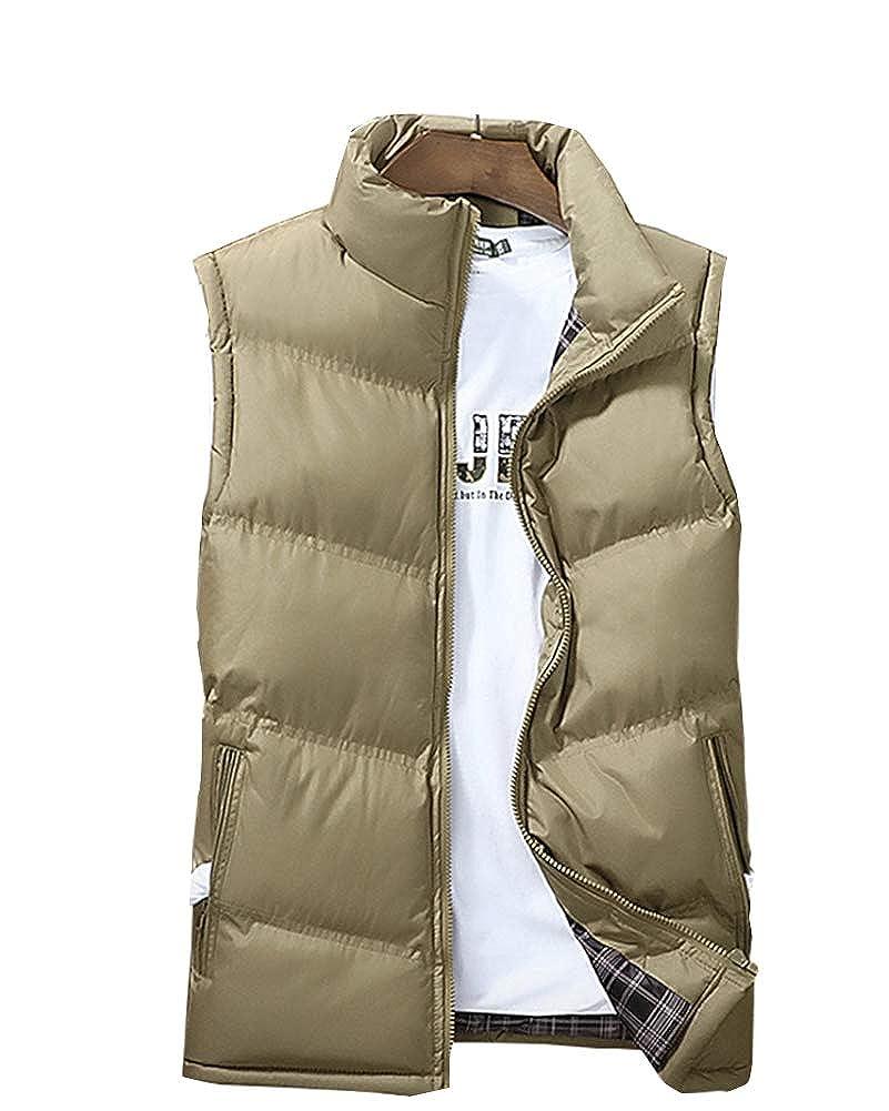 Chaleco Acolchado Ligero para Hombre Chaqueta Sin Mangas C/álido Abrigo de Invierno