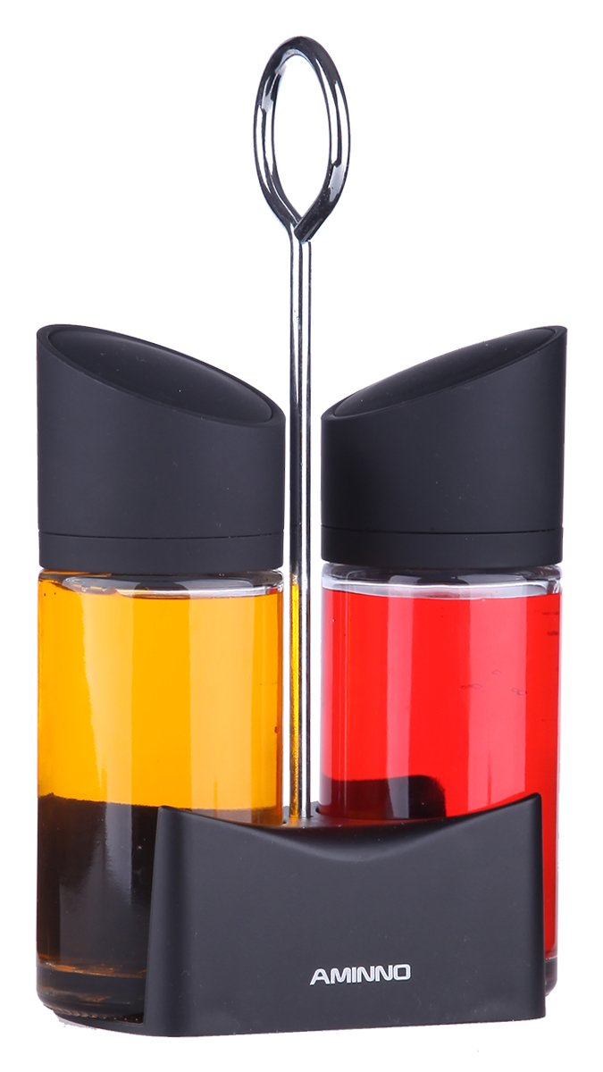 Juvale Modern Sleek Designed Cruets - Oil and Vinegar Storage Bottles with Pop-Up Top - 3 Pc Set