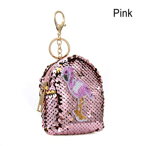 Women Kids Sequins Coin Purse Mini Backpack Wallet Keys Card Holder Earphone Bag (Color - Pink) ()