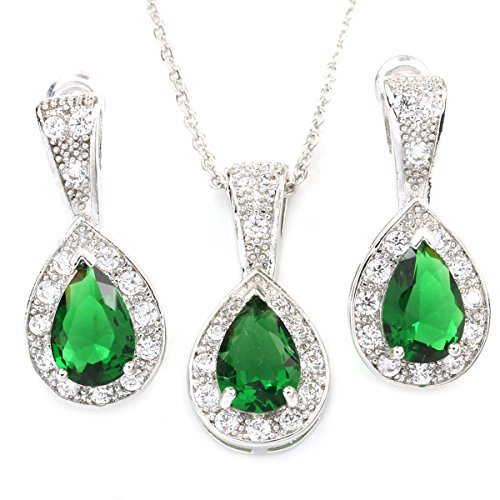 (FC JORY White Gold GP Green Pear Halo Waterdrop Necklace Earrings Jewelry Sets)