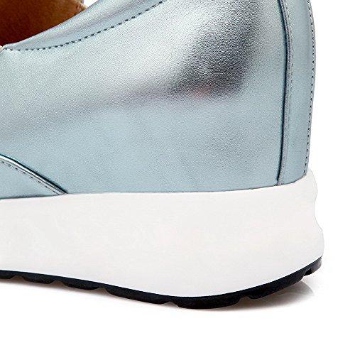 AllhqFashion Damen Ziehen auf PU Leder Rund Zehe Hoher Absatz Rein Pumps Schuhe Himmelblau