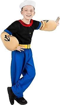 Maskworld Disfraz de Popeye, el Marinero para niños (6 Piezas con ...