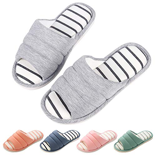 Women's Memory Foam House Slippers Soft Winter Warm Cotton Indoor Slippers Open Toe Slip On Home Shoes GY28 by Shevalues