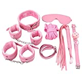 Renesmei 7PCS S&M Kit Alternative Flirting Toys Plush Leather Handcuffs Mask Whip SM Tools (Pink)