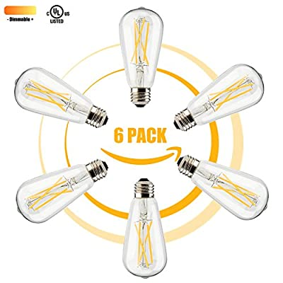 Leadleds LED Dimmable Filament ST19 Soft White (2700K) Light Bulb UL Listed