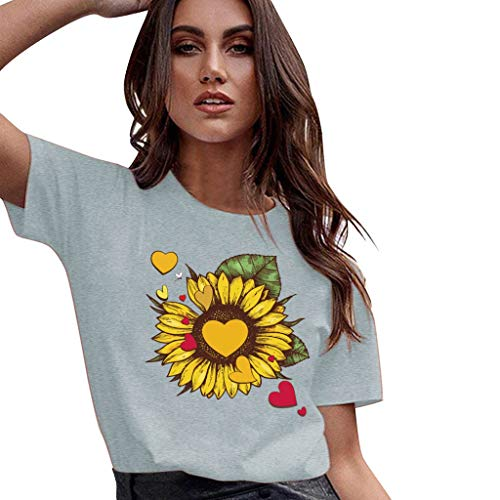 Racerback Heart - FEDULK Womens Summer Tees Sunflower Graphic Heart Print Short Sleeve Round Neck Summer Funny T-Shirt(Gray, XX-Large)