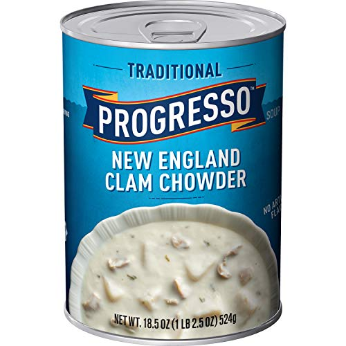 New England Clam Chowder - Progresso Traditional Soup, New England Clam Chowder, 18.5-Ounce Cans (Pack of 12)
