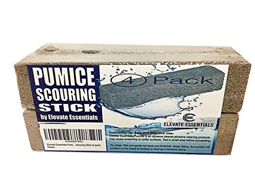 Pumice Stone Toilet Bowl Cleaner - 4 Pack of Pumice Stones Scouring Sticks - Pool Pumice Stone Tile Cleaner - Removes Rust Lime Calcium - Natural Product (Scouring Brick)