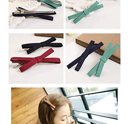 10pcs Random Floral Cotton Bow Flower Hairpins Hair Clips/Barrette (Pixie Bow Pins)