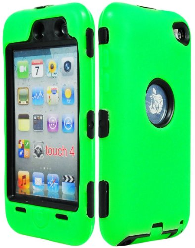 Case I&t New - iPod Touch 4 Case, Bastex Hybrid Rugged Outer Green Silicone Cover Hard Black Inner Shell Case for Apple iPod Touch 4