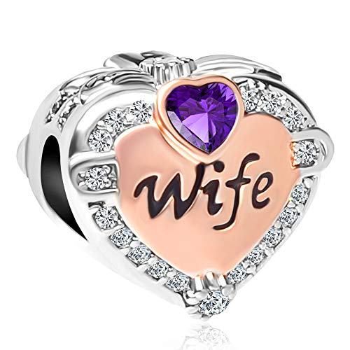CharmSStory pandöra Rose Gold Wife Heart Love Charms Beads for Bracelets & Necklaces (February) (Love Pandora Bracelet)