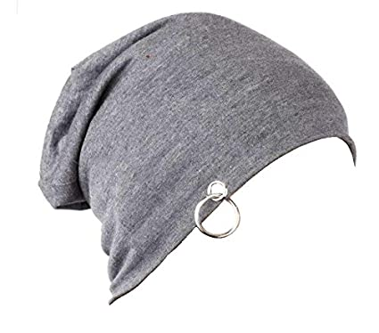 Grey Beanie Cap with Ring Thin Fall Hat for Men and Women  Amazon.in   Sports f118b1d742b