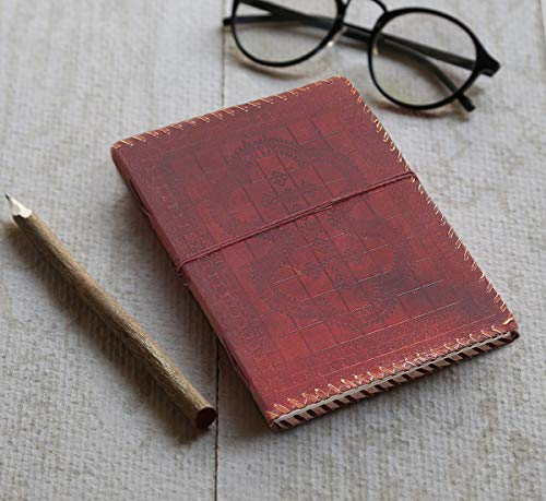Handmade Leather Book of Shadows Journal Eco Friendly Unlined Pages Compact Travel Diary Writing Journal for Men & Women(Fine Leather ()