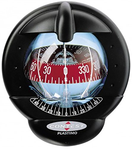 (Nautos 25483 - Contest 101 Compass-Mount Inclined 10 to 25 Degrees-Black Bezel with RED Card- PLASTIMO 64418)