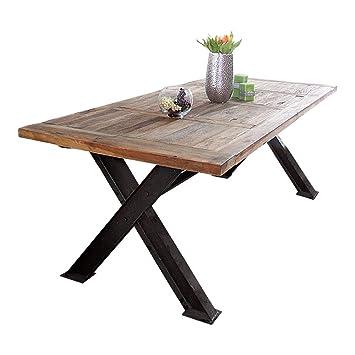 Massivholz Esstisch Aus Metall Im Industrie Design Shabby Chic Loft